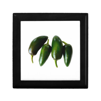 Four Jalapeno Peppers Green Photograph Keepsake Box