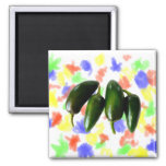 Four Jalapeno Peppers Green Photograph Fridge Magnets
