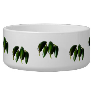 Four Jalapeno Peppers Green Photograph Dog Bowl