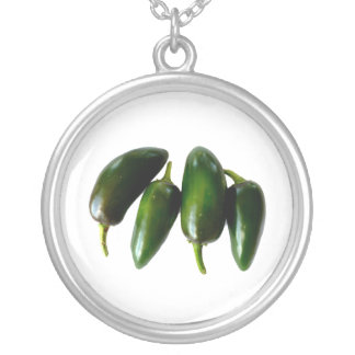 Four Jalapeno Peppers Green Photograph Round Pendant Necklace