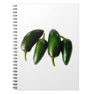 Four Jalapeno Peppers Green Photograph Spiral Notebook