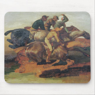 Four Jockeys Galloping Mouse Pad