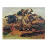 Four Jockeys Galloping Postcard