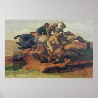 Four Jockeys Galloping Poster