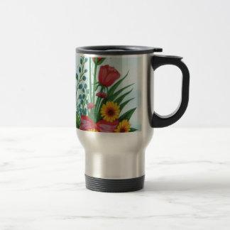 Four kinds of Beautiful Flowers Travel Mug