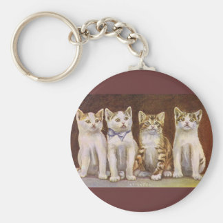 Four Kittens At Attention Key Chain