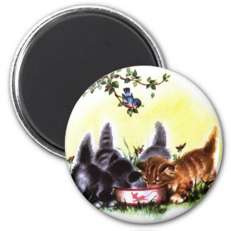 Four Kittens Feasting Artwork 2 Inch Round Magnet