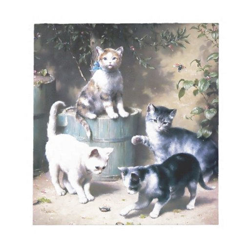 Four kittens playing with Bugs painting Memo Note Pads