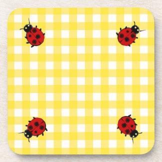 Four Ladybugs on sunny Yellow Gingham Beverage Coaster