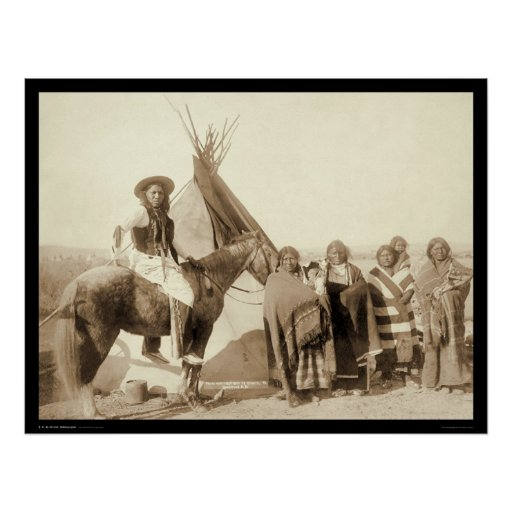 Four Lakota Indian Women in front of Tipi SD 1891 Poster