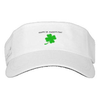 Four leaf clove St. Partrick's day white-sun visor