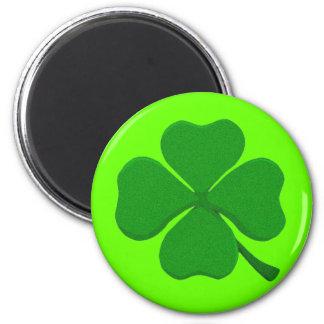 Four Leaf Clover 2 Inch Round Magnet