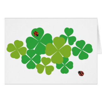 Four Leaf Clover and Ladybug_St. Patrick's Day Card