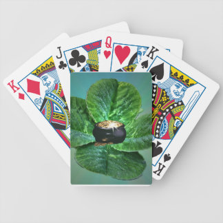 Four leaf clover and pot of gold  playing card's bicycle playing cards