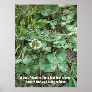 Four Leaf Clover Best Friend Good Luck Poster