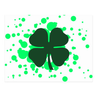 four leaf clover bubbles postcard