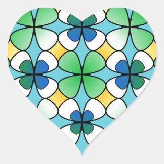 Four Leaf Clover Double Inside Blue Green White Heart Sticker