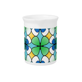 Four Leaf Clover Double Inside Blue Green White Pitcher