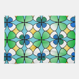 Four Leaf Clover Double Inside Blue Green White Towel