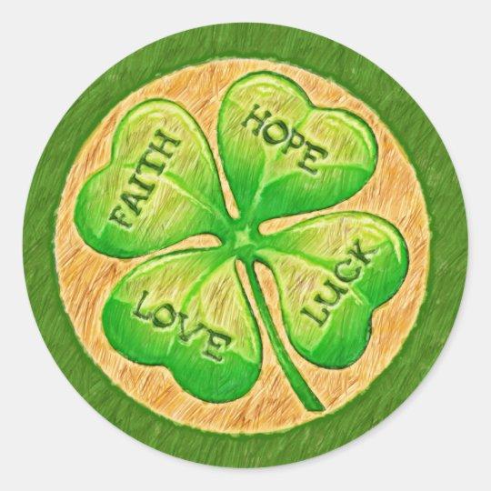Four Leaf Clover - Faith Hope Love Luck Classic Round Sticker