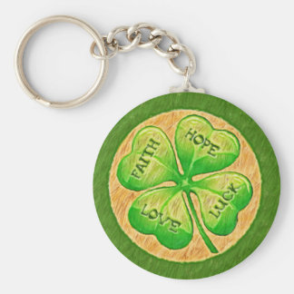 Four Leaf Clover - Faith Hope Love Luck Keychain