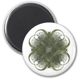 Four Leaf Clover Fractal Art 2 Inch Round Magnet