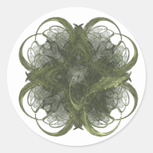 Four Leaf Clover Fractal Art Classic Round Sticker