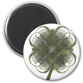 Four Leaf Clover Fractal Art with Stem 2 Inch Round Magnet