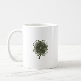 Four Leaf Clover Fractal Art with Stem Classic White Coffee Mug