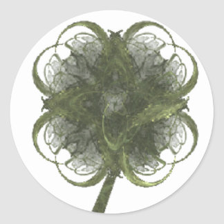 Four Leaf Clover Fractal Art with Stem Classic Round Sticker