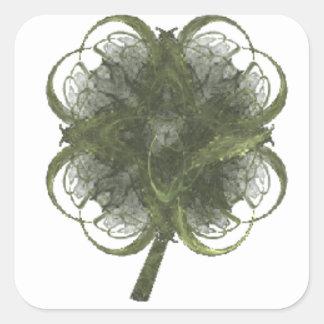 Four Leaf Clover Fractal Art with Stem Square Sticker