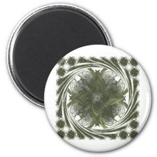 Four Leaf Clover Fractal Swirl 2 Inch Round Magnet