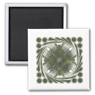 Four Leaf Clover Fractal Swirl 2 Inch Square Magnet