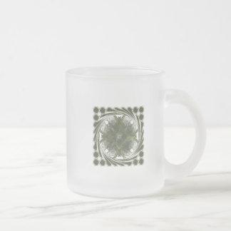 Four Leaf Clover Fractal Swirl 10 Oz Frosted Glass Coffee Mug