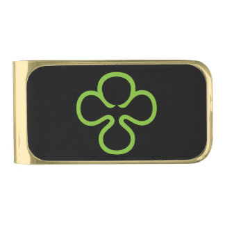 Four Leaf Clover Good Luck Charm Gold Finish Money Clip