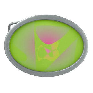 Four Leaf Clover Green Oval Belt Buckle