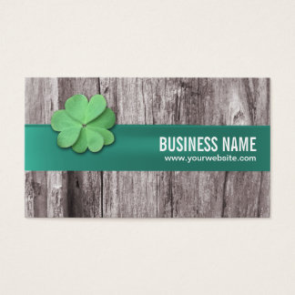 Four-leaf Clover Green Ribbon Wood Background Business Card