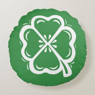Four Leaf Clover Green Round Pillow