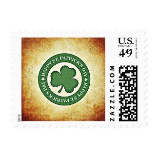 Four Leaf Clover Happy St Patrick's Day Stamp
