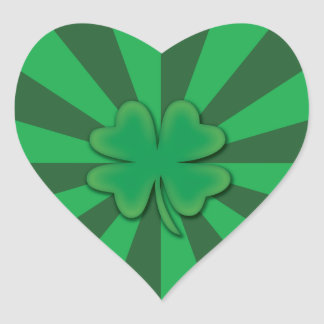 Four leaf clover heart stickers