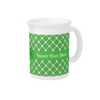 Four leaf Clover Hearts pattern Customizable Beverage Pitcher
