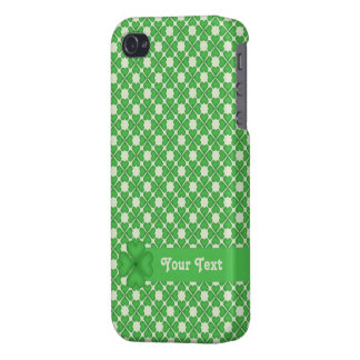 Four leaf Clover Hearts pattern Customizable iPhone 4 Cases