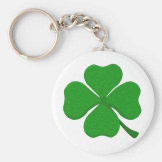 Four Leaf Clover Basic Round Button Keychain