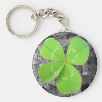 Four Leaf Clover Keychain - Black White Color