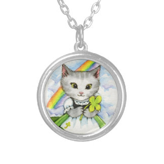 Four Leaf Clover Kitten - Cute Cat Art Silver Plated Necklace