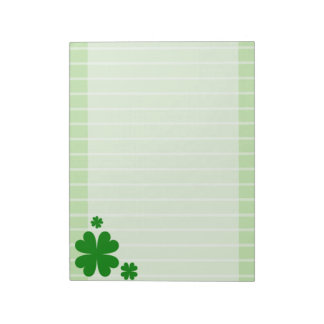 four leaf clover lined notepad