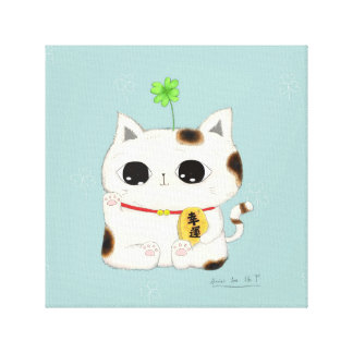 four leaf clover-lucky cat canvas print