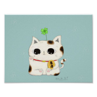 four leaf clover-lucky cat poster