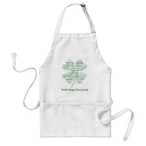Four Leaf Clover Meaning: Hope, Faith, Love, Luck Aprons