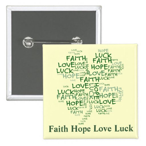 Four Leaf Clover Meaning: Hope, Faith, Love, Luck 2 Inch Square Button